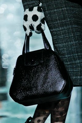 Marc Jacobs handheld satchel with polka dot gloves